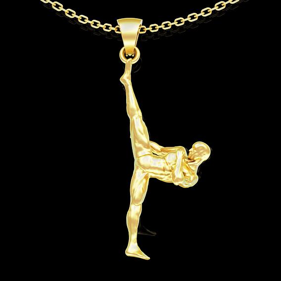 Karate man pendant jewelry gold necklace medallion 3D print model