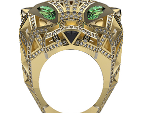 Ring Big Cat in Gems 3D print model