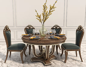 3D model Classic Carved Dinning Set 2