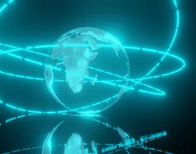 animated Earth hologram 3D