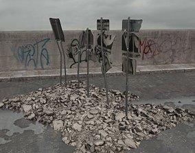 3D model destroyed signs 080 am165