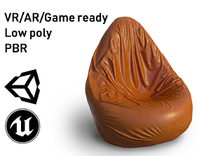 realtime Bean Bag Chair Low Poly model with PBR