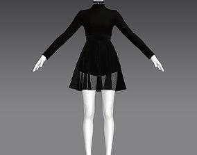 3D asset Woman all black dress