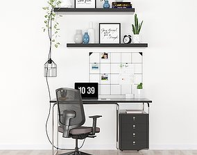 3D model Workplace set with decor IKEA
