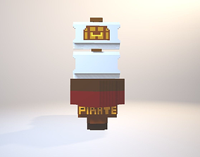 Pirate Ship With Two Models With And Without 3D asset 2