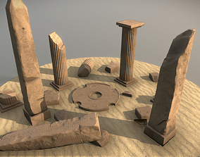Ancient African Ruins Low poly 3D Model Game VR / AR ready