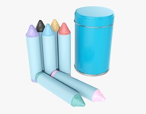 3D Large crayons in a metal tube box
