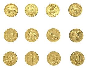 3D Model of Zodiac symbols UPDATE gold
