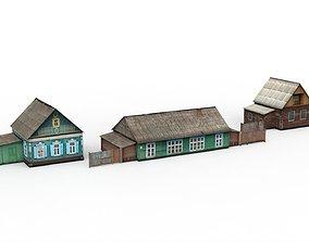 Three village houses 3D asset