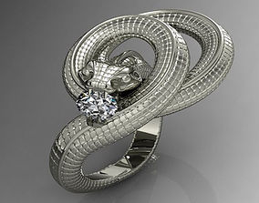 diamond-ring 3D print model Snake Ring