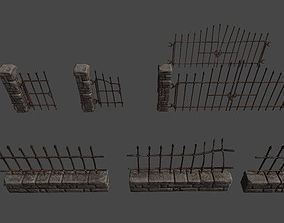 Stone Fence and Gates 3D asset