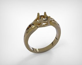 Golden Ring Jewelry Engagement Type 3D print model