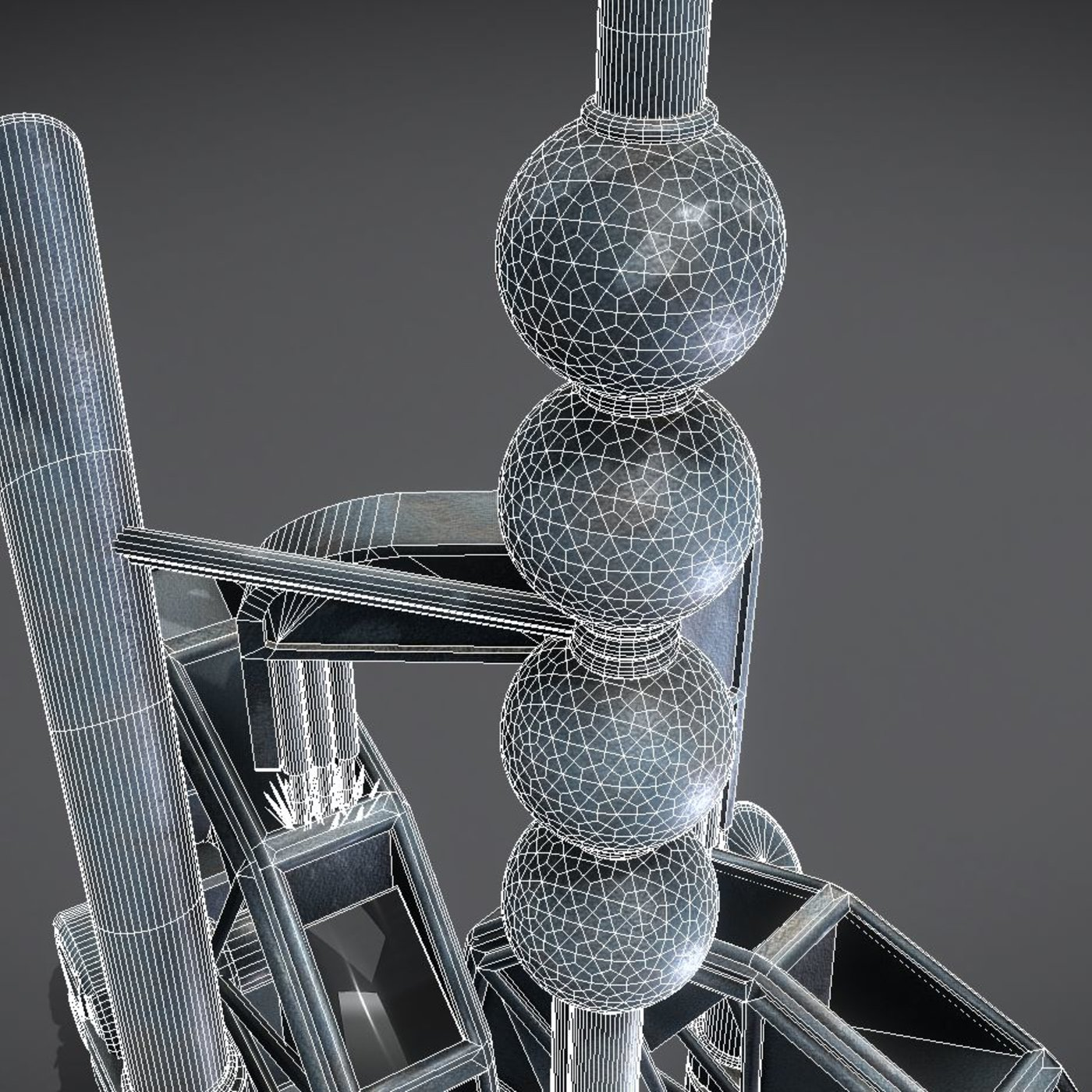 High-Poly Water Wheels Fountain