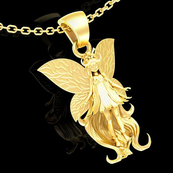 Mana Faerie Sculpture pendant jewelry gold necklace 3D print model