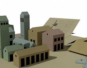 Folding paper houses 3D model