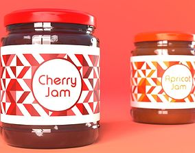 Jam Jar Apricot and Cherries 3D
