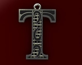3D printable model typographic Alphabet Pendant