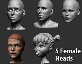 Female Heads 3D model