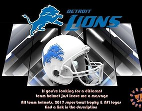3D print model Detroit Lions Football Helmet