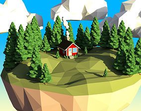 Low Poly Fir Tree Set 3D asset