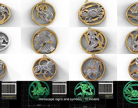 3D Horoscope signs and symbols