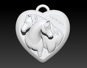 Love Horses Pendant 3D printable model