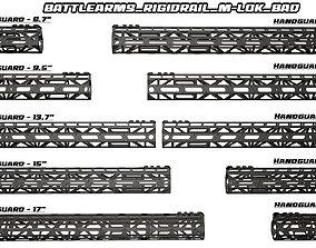 3D model Battlearms Rigidrail MLOC BAD Handguard PBR