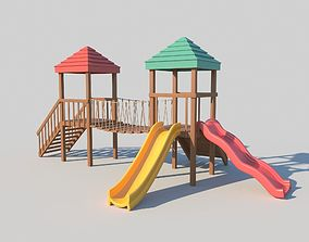 Playground Wooden Fort With Slides 3D