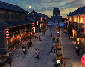 Animated Sunset Street 3D model