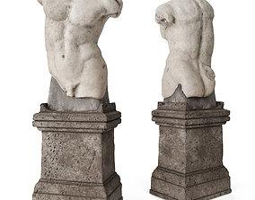 Roman man torso with pedestal 3D asset