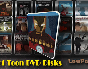 3D model 21 Pack cartoon DVD discs