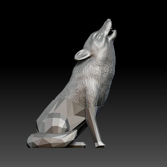 Crystalized Wolf - Wolf Sculpture