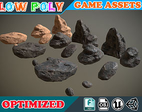 Low poly Realistic Rock Pack 001 3D asset