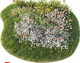 Flower bed 3D model grass