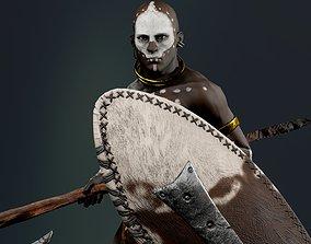 African ZULU Warrior 3D asset