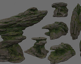 temple 3D model rocks set