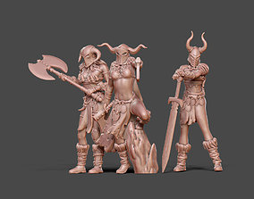 Barbarian bundle II - 3 miniatures 35 m 3D printable model
