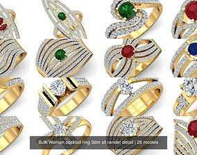 26 Bulk Women cocktail ring 3dm stl render detail