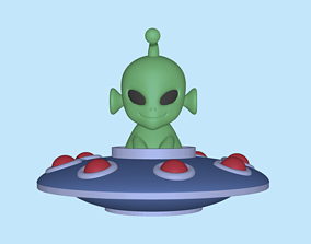 A cute UFO Alien to decorate and 3D printable model