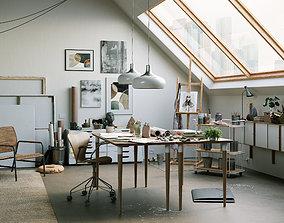 3D model Watercolor Room interior scene