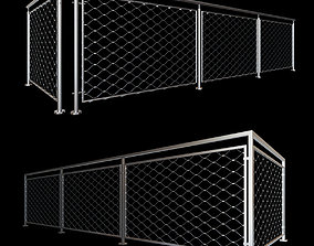 Steel railing with rope system 3D