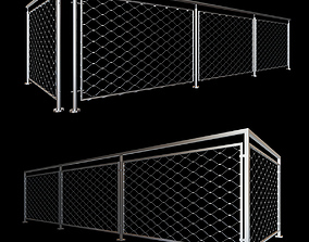 3D model PBR Steel railing with rope system