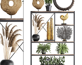 Shelf rack with decor and plants 14 3D model