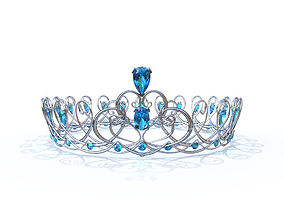 3D model Silver Swirl Crown with Blue Jewels