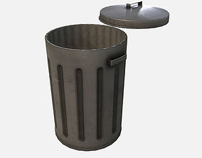 Low Poly PBR Trash Can 3D model