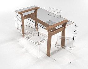 3D model Transparent Dining Table Set