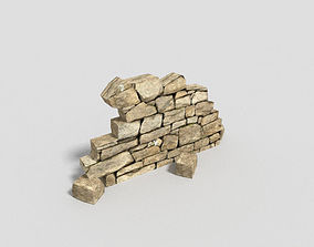 low poly dungeon damaged wall 3D model