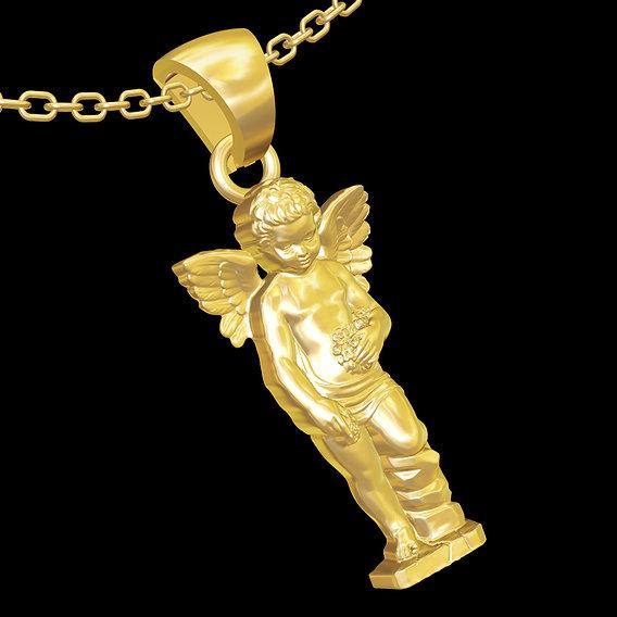 Angel child got flower pendant jewelry gold necklace medallion 3D print model