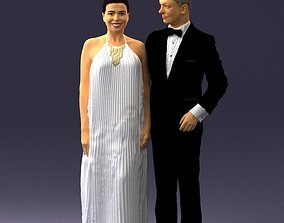 3D Groom in dark suit and the bride 0457