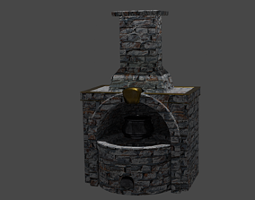 3D asset Low Poly Forge Smelter